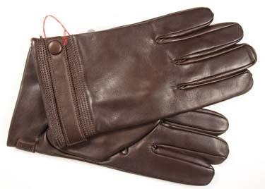 Мужские коричневые кожаные перчатки